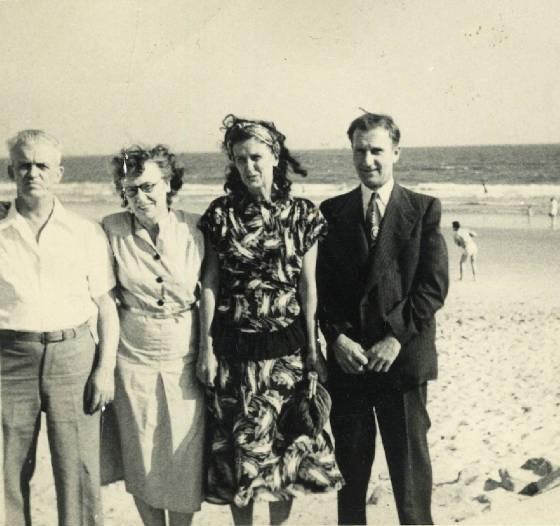 (L-R): Peter Durette, Isabella Roy Durette, sister Jeanette, unknown man. Date unk. Prov. by family.