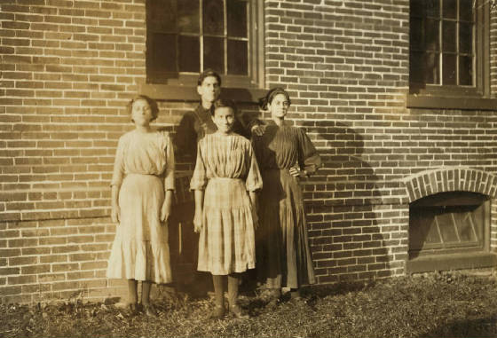 (L-R): Eglantine, Mamie & Agnes, boy probably Alfred, Winchendon, MA, Sept 1911. By Lewis Hine.
