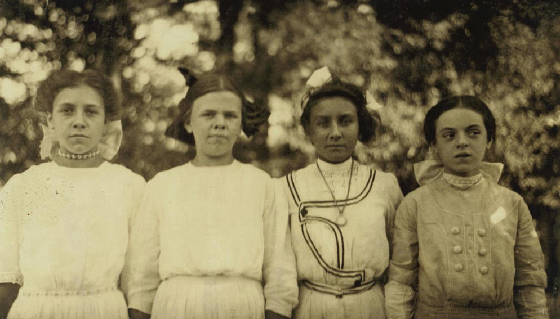 Rosina Goyette (far right), 14 years old, Winchendon, Mass, September 3, 1911. Photo by Lewis Hine.