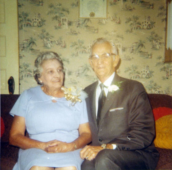 Frank and Mamie Laberge Mossey, on their 50th wedding anniversary, 1971.