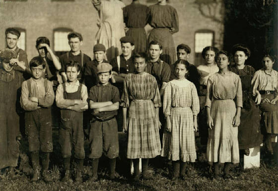 Alcide Gauthier (front row, first on left with arms folded. Winchendon, MA, Sept 1911. By Lewis Hine