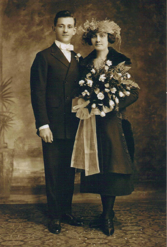 Frank and Mamie Laberge Mossey on their wedding day, November 22, 1921.