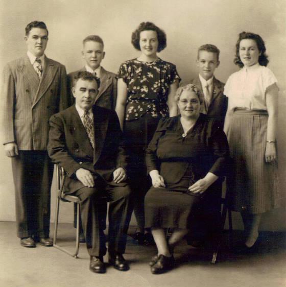 Martin and Mary Markey with children (L-R): John, Martin, Alice (Sister Monica), Edward & Mary, 1948.