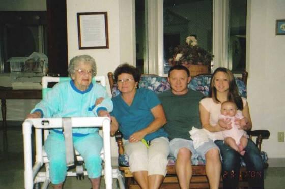 Left to right: Martha Rommel Karst, age 91, daughter Pat Speyer, grandson Gene, great-granddaughter Heather, and great-great-granddaughter McKenna. 2001