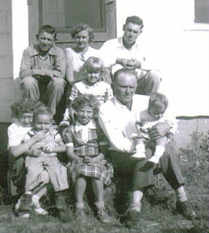 (top row L-R) Jack, Nancy, Jim, (girl in middle) Marsha, (bottom row L-R) Pat, daughter interviewed, Vernon, Judy, father Ben, and Charlotte. Mother Martha and son Richard not pictured.