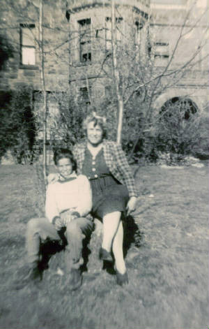 Mary and son Ken, ironically at Marchmont, the house owned by mill owner Mr. White, late 1930s.