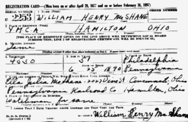 1942 World War Two draft registration.