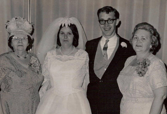 (L-R): Mildred Greenwood Roy, Barbara Courtmanche, Mildred's grandson Steven Courtmanche, and Mildred's daughter Lorraine Roy Courtmanche, at Steven and Barbara's wedding in 1966. Photo provided by family.