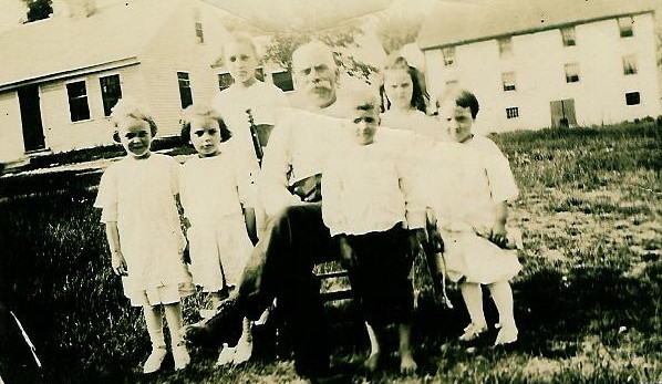 Onesime Laberge with son Henry's children. Photo taken at Mill Circle, late 1920s.