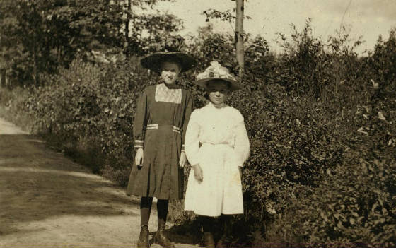 Alice Dugas (right), 11 yrs old, Winchendon, Mass., September 1911. Photo by Lewis Hine.