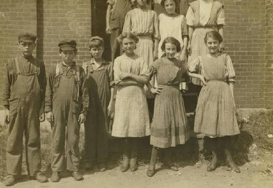 Francis & Adrienne Paquet (3rd from left & far right), Winchendon, MA., Sept 1911. By Lewis Hine.