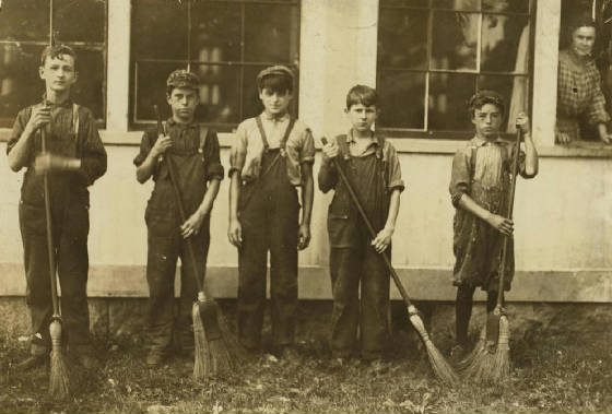 Francis Paquet (2nd from right), Winchendon, Mass., September 1911. Photo by Lewis Hine.
