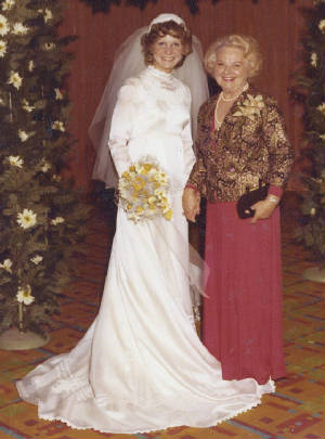 Pamela and Elsie at Pamela's wedding, circa 1973.