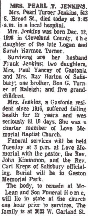 Pearl Jenkins (Turner) Obituary December 28, 1964