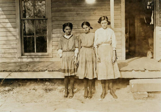 Pearl (left) and Viola Turner (right), and unrelated girl, Gastonia, NC, November 1908, Lewis Hine