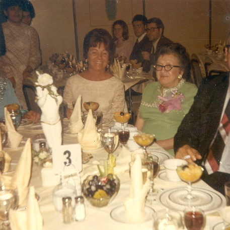 Phoebe Thomas Bodi (right) at Barbara Geagan's wedding, 1969. Photo provided by family.