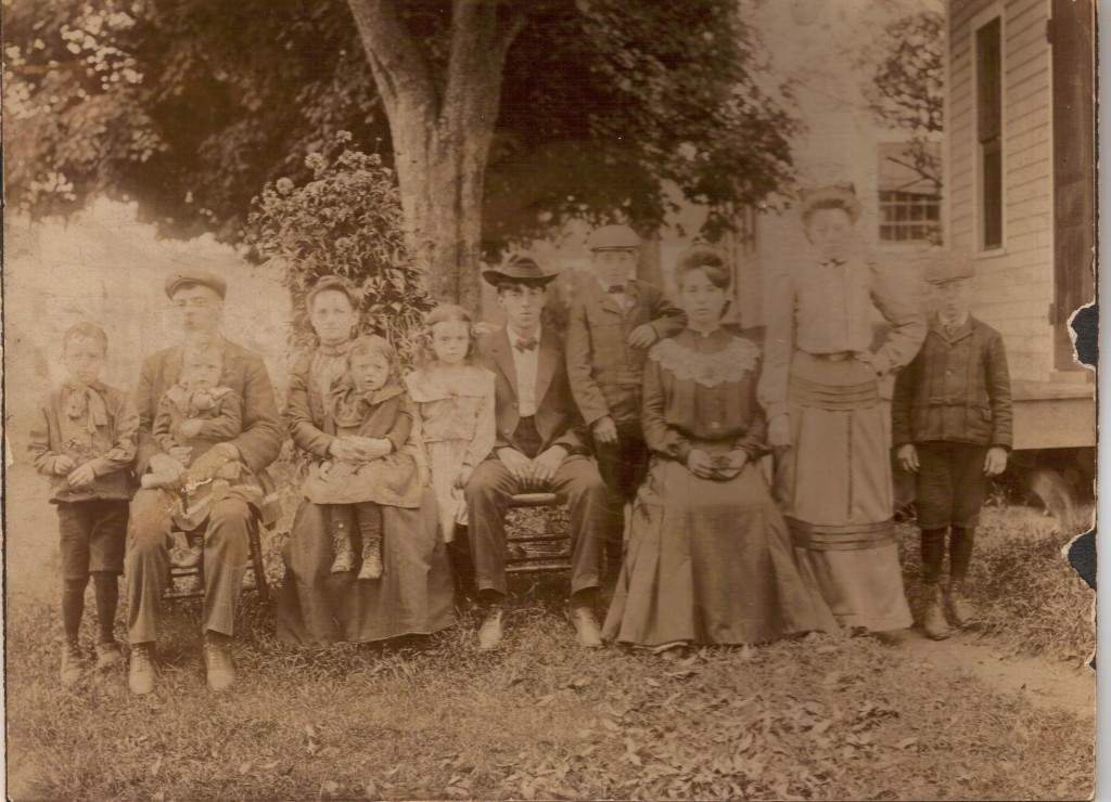 Goyette family in Winchendon, about 1905. Among them are father Frederick (second from left), mother Ozine (third from left), and daughter Rosina on her mother's left.