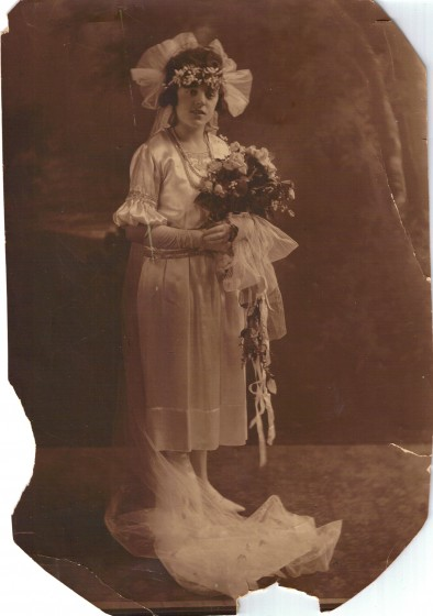 Rosina Goyette Gagnon on her wedding day in 1921.