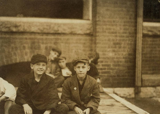 Richard Fitzgerald (right), North Adams, Massachusetts, August 1911. Photo by Lewis Hine.