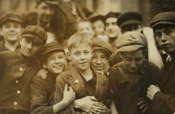 Richard Fitzgerald (center, with button on coat), North Adams, MA., Aug. 1911. Photo by Lewis Hine.