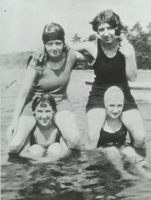 Mary Rose Deschenes (top right), with cousins, 1920s.