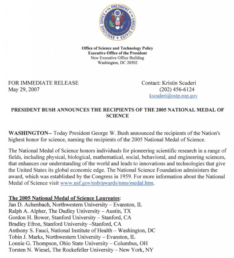 Tobin Marks receives National Medal of Science award