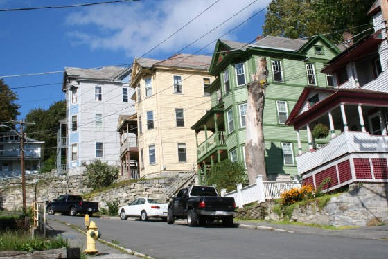 """Triplets"" houses from bottom of North Holden Street, North Adams (2006)"