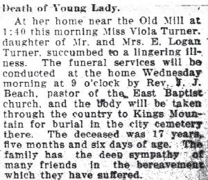 Viola Turner Obituary March 26, 1912