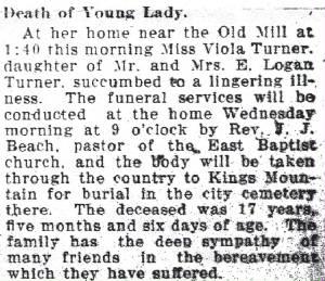 Viola Turner Obituary March 26, 1912