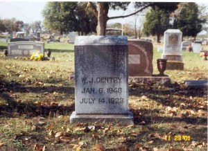 Gravestone for Fon Gentry's father. Photo by Britt Thompson. CLICK PHOTOS TO ENLARGE.