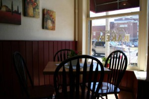 "Location of the former ""Fred's Desk,"" at Kristin's Bakery & Bistro, Keene, New Hampshire"