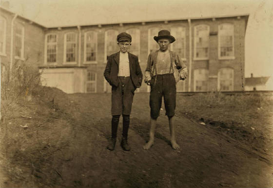 Fred (left), 12 yrs, and William Crocker, 13 yrs, Chester, SC, Nov. 1908. Photo by Lewis Hine.