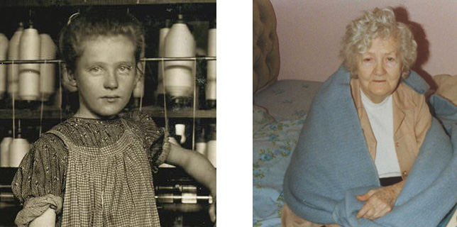 Addie at age 12, and at age 90 (photo provided by Addie's family).