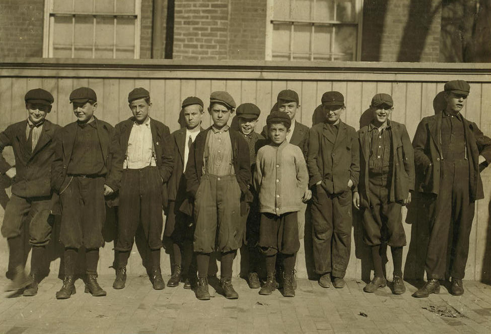 Adelard Gagnon, fifth from left, Naumkeag Steam Cotton Co mills, Salem, MA.