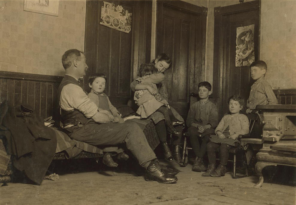 Alfred Benoit (3rd from right), 11 yrs, New Bedford, MA, Jan 1912. By Lewis Hine.