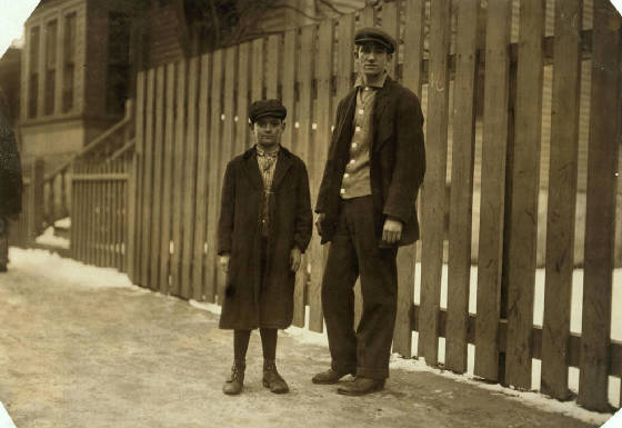 Alfred Benoit (left), New Bedford, Massachusetts, January 1912. Photo by Lewis Hine.
