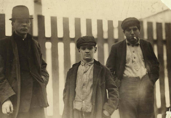 Alfred Benoit (middle), New Bedford, Massachusetts, January 1912. Photo by Lewis Hine.