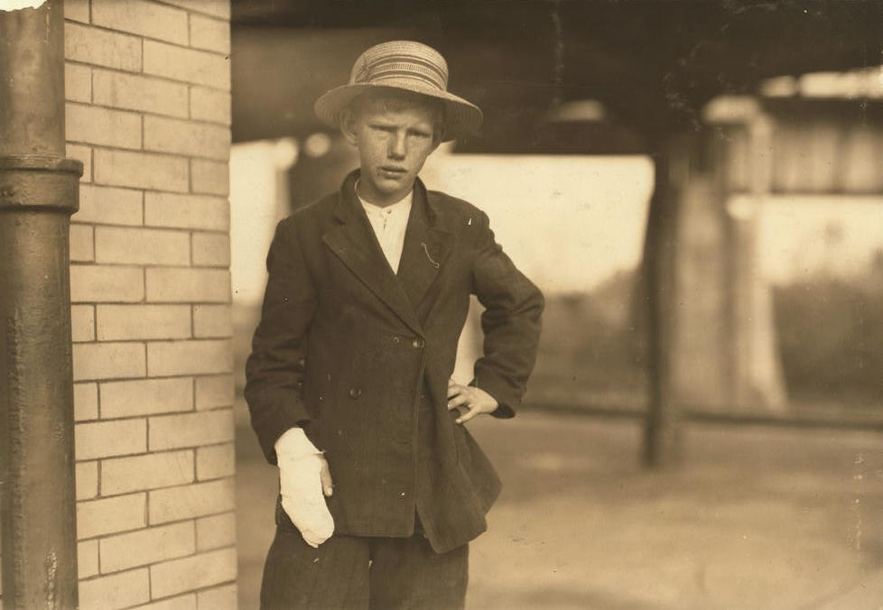 John Alfred Padgett, 13 yrs old, Weldon, North Carolina. Photo by Lewis Hine.