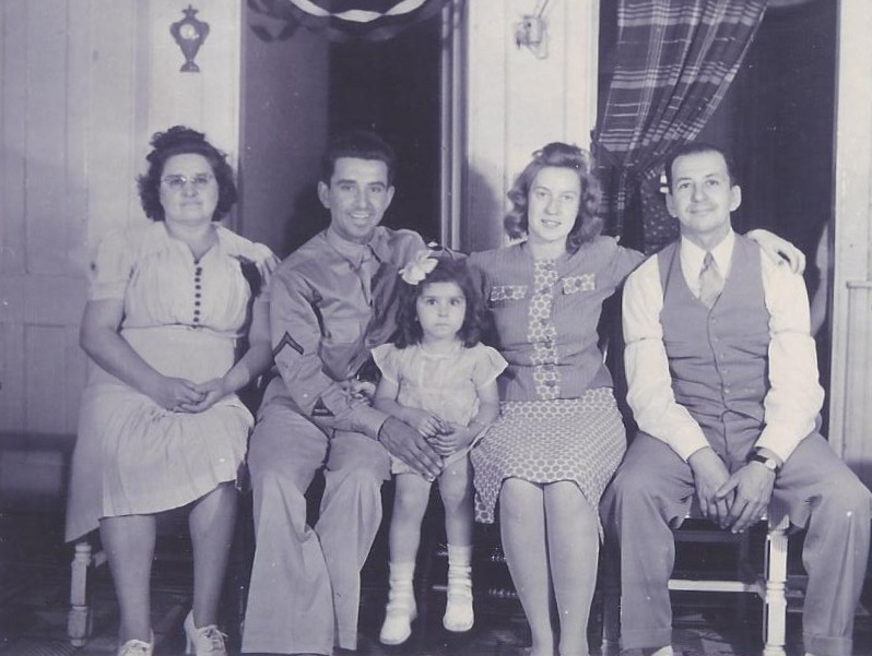 Claudette Marcil (center) with (L-R): Aurore (mother), Oliver (brother), Charlotte (Oliver's wife) and Sylva (father).
