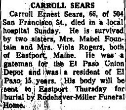 Obituary published July 2, 1957. Provided by El Paso Public Library.