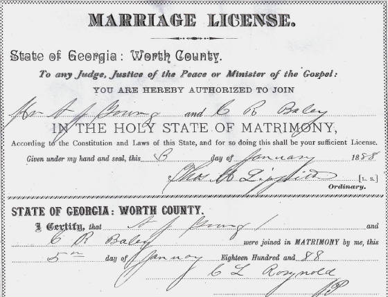 Marriage license for Mr. and Mrs. Young.