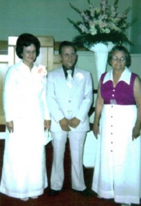 Ruth Barnhill McDowell (right) with daughter Erlie and Erlie's husband John.