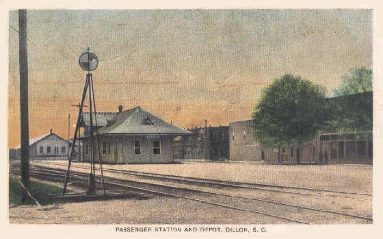 Postcard of train station in Dillon. Circa early 1900s.