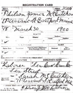 World War I draft registration.