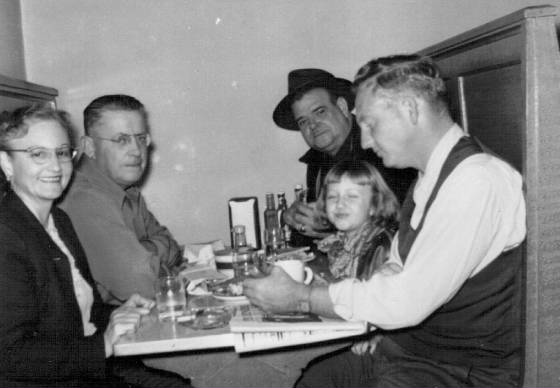 On left: Elizabeth Young Murdaugh Hunley and David Davenport (Evie's maternal grandfather); on right, front to back: Jesse Smith, Jr. (Elizabeth's son), Evie Smith (now Taylor) and Evan Hunley (Elizabeth's husband), circa 1952.