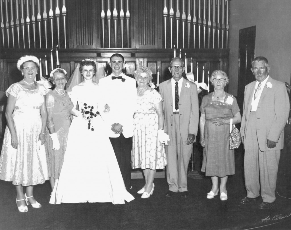 Kathleen O'Boyle's wedding, 1960: Eva (2nd from left), Kathleen (3rd from left).