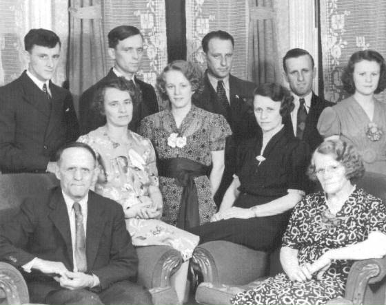 Left to right: (back row): Albert, John, Romeo, Arthur, Jeannette; (seated): Joseph (father), Rose, Lena, Eva, Roseanna (mother).