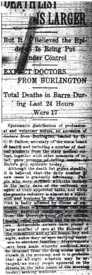 Barre Daily Times, October 2, 1918.