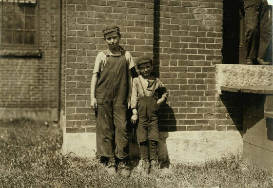 Frank (left) and Edgar Charbonneau, Winchendon, Mass., September 1911. Photo by Lewis Hine.
