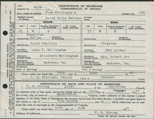 Fred and Edith's wedding certificate.